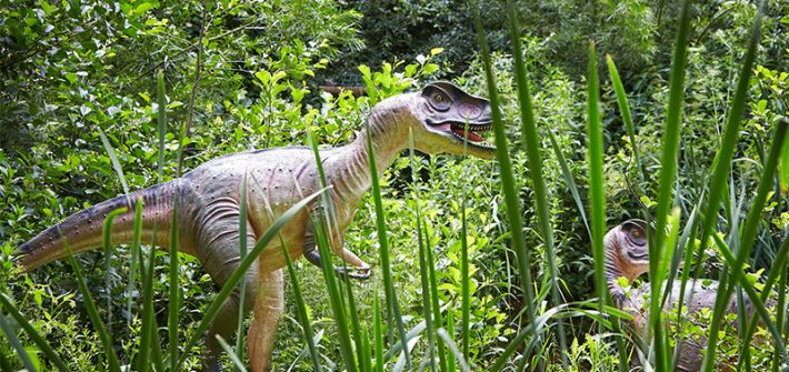 Two dinosaurs. Birdland Park & Gardens, Borton-on-the-Water